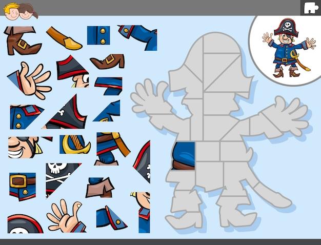 Puzzlespiel mit piratenkapitän-fantasy-charakter