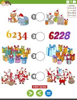 Puzzlespiel von größer als kleiner oder gleich mit weihnachtsfiguren