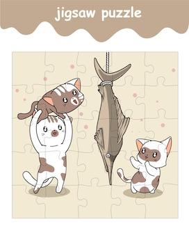 Puzzlespiel von katzen mit riesenfischkarikatur