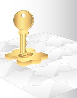 Puzzlespiele mit goldstück und schlüsselhintergrund vector illustration