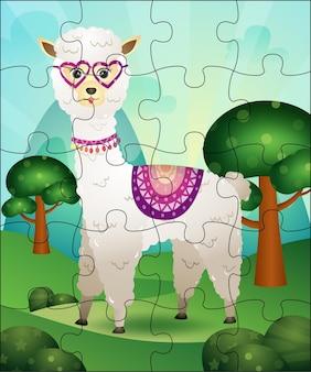 Puzzlespielillustration für kinder mit niedlichem alpaka