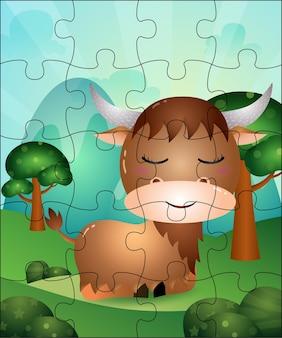 Puzzlespielillustration für kinder mit niedlichem büffel