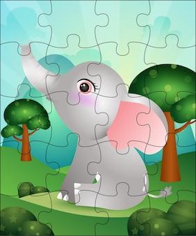 Puzzlespielillustration für kinder mit niedlichem elefanten