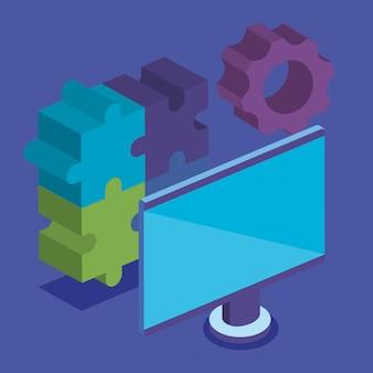 Puzzlespielstücke mit computer