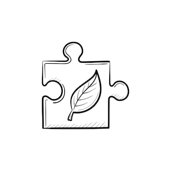 Puzzleteil handgezeichnete umriss-doodle-symbol. ökologisches verantwortungskonzept. vektorskizzenillustration des puzzleteils für druck, netz, handy und infografiken lokalisiert auf weißem hintergrund.