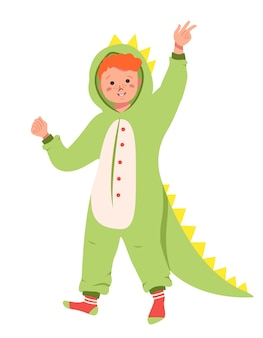 Pyjama-party für kinder. satz kinder, die overalls oder kigurumi von verschiedenen tieren tragen, die auf weißem hintergrund lokalisiert werden. karnevalskostüme. flache cartoon-vektor-illustration.
