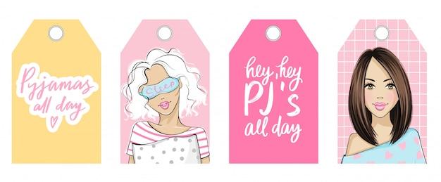 Pyjama-party-vektor-tags mit niedlichen mädchen und zitaten. junge frau im pyjama und schlafmaske.