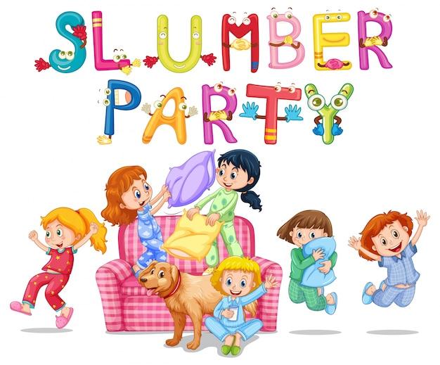 Pyjamaparty mit mädchen in den pyjamas zu hause