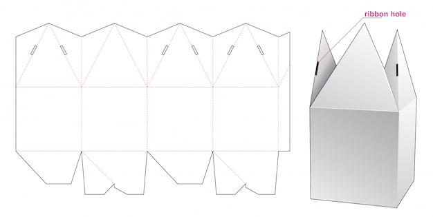 Pyramid top verpackungsbox gestanzte vorlage design