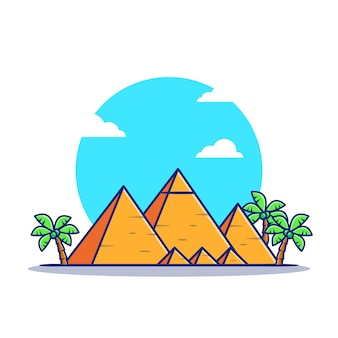 Pyramide cartoon icon illustration. famous building travelling icon concept isoliert. flacher cartoon-stil