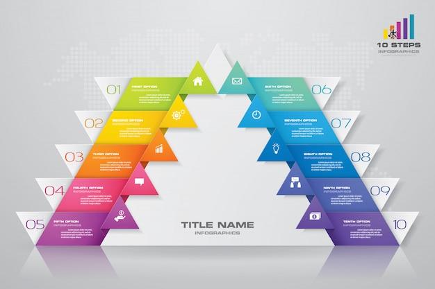 Pyramiden-präsentationstabelle mit 10 schritten. eps10.
