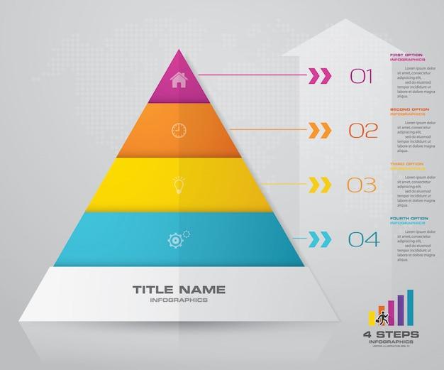 Pyramidenpräsentationstabelle mit 4 schritten. eps10.