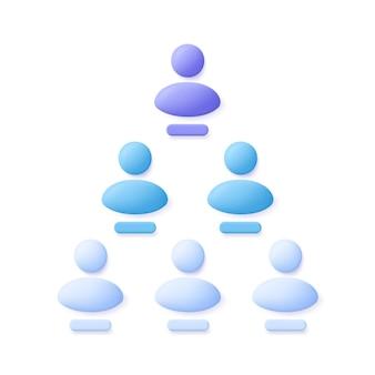 Pyramidenschema oder verweissystemsymbol. 3d-vektor-illustration.