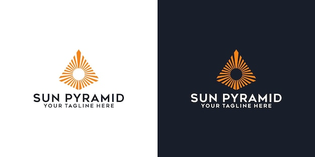 Pyramidenspitze und sonnenlogo-design inspiration logo-vorlage und visitenkarten-design