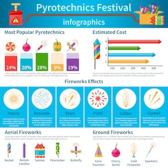Pyrotechnik festival flache infografiken