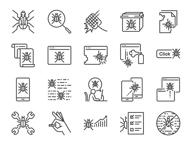 Qa und fehler beheben icon-set.