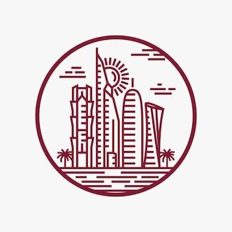 Qatar city tower logo-design inspiration