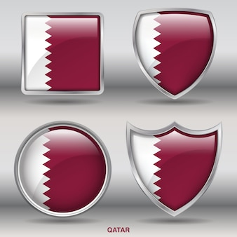 Qatar flag bevel formen symbol