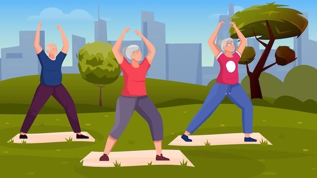 Qigong-energie-hintergrund mit drei älteren menschen, die übungen im freien machen