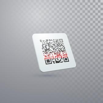 Qr-code-abzeichen im scan-prozess isoliert auf transparentem hintergrund