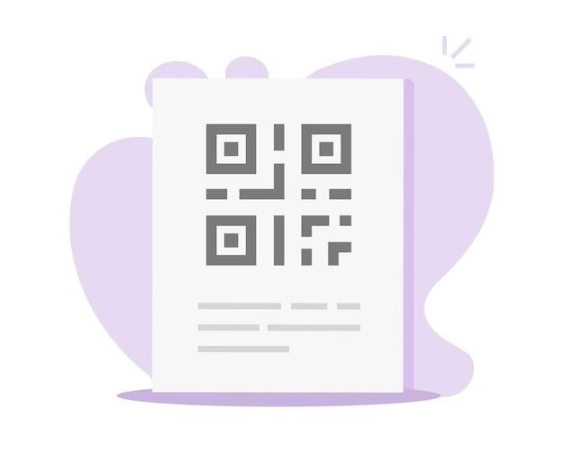 Qr-code auf papier dokument info seite symbol