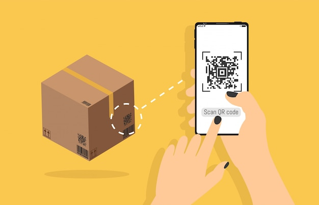Qr-code bezogene vektor-linie ikonen, die in der hand lieferungskasten auf smartphone, bewegliche realistische art, identifikationsprodukt im shop, scandaten mit der anwendung scannen.