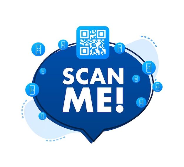Qr-code für smartphone inschrift scannen sie mich mit smartphone-symbol qr-code zur zahlung