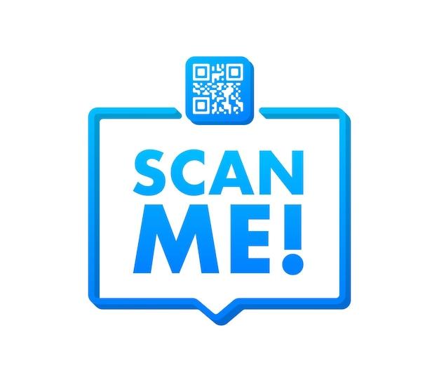 Qr-code für smartphone-inschrift scannen sie mich mit smartphone-symbol