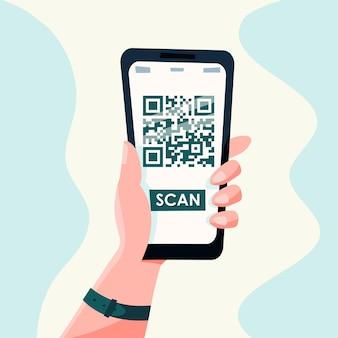Qr-code-handy-scan auf dem bildschirm. in der hand auf weißem hintergrund. flacher stil