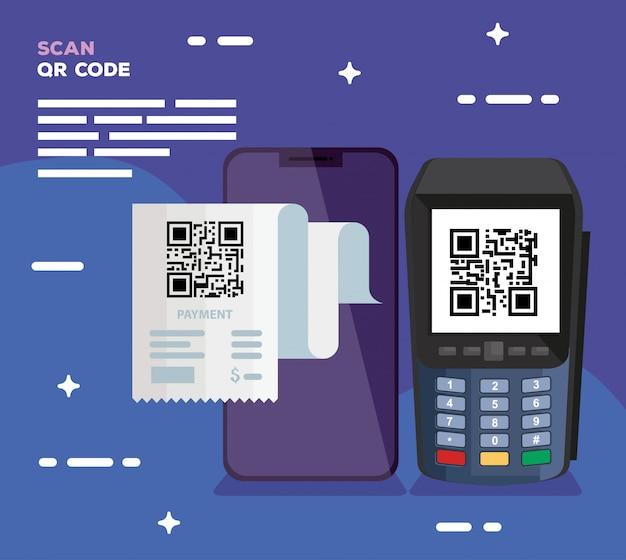 Qr-code im dataphon- und smartphone-design von technologie-scan-informationen geschäftspreis-kommunikations-barcode digital und datenthema vektorillustration