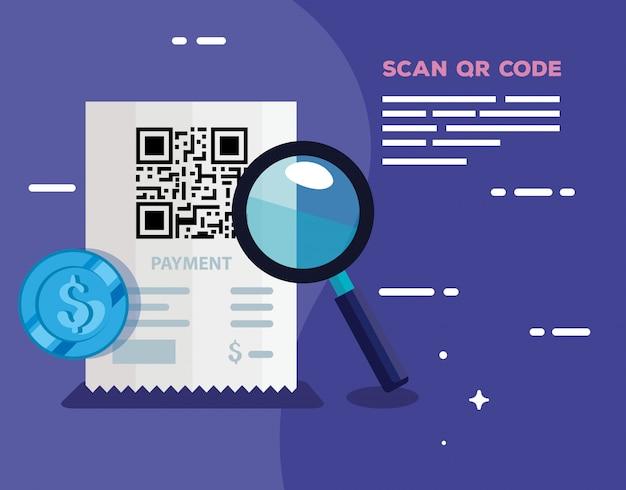 Qr-code in gutscheinpapier mit lupe scannen