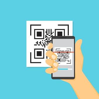 Qr-code-konzept. code mit dem smartphone scannen
