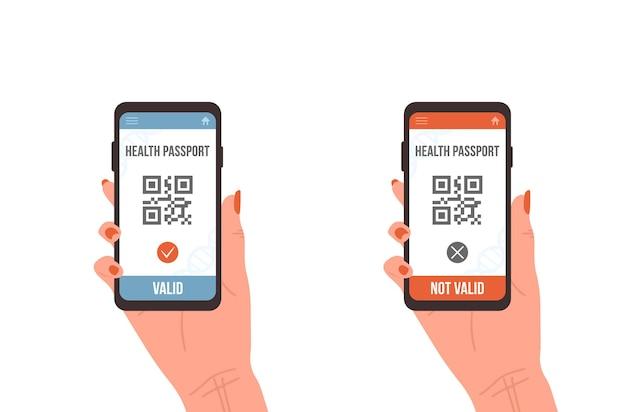 Qr-code mit gesundheitspass. elektronischer gültiger und nicht gültiger impfausweis.