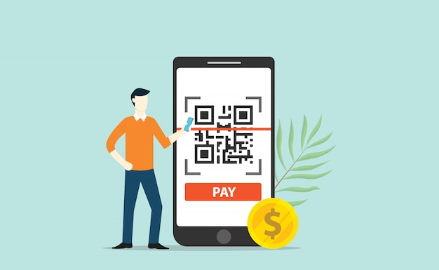 Qr-code online-bezahltechnologie-scan