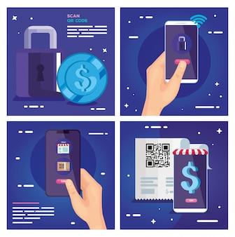 Qr-code-papier smartphones vorhängeschloss und münzvektor design