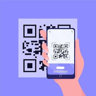 Qr-code-person, die ein smartphone hält
