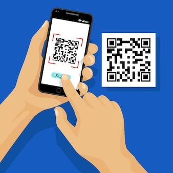 Qr-code-scan auf smartphone-konzept