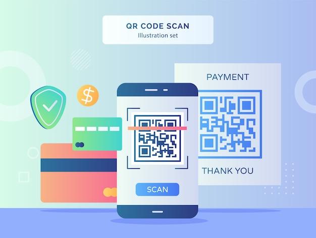 Qr-code-scan-illustrationssatz qr-code auf dem display-smartphone-bildschirmhintergrund des bankkartenschild-dollars mit flachem design