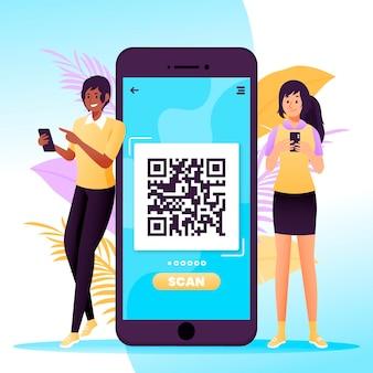 Qr-code-scan im mobilen stil