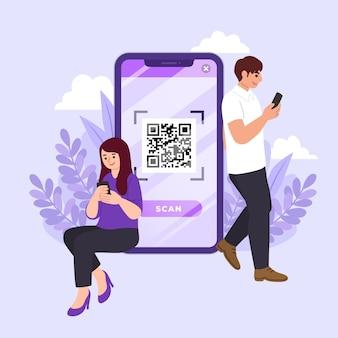 Qr-code-scan-konzept mit zeichen