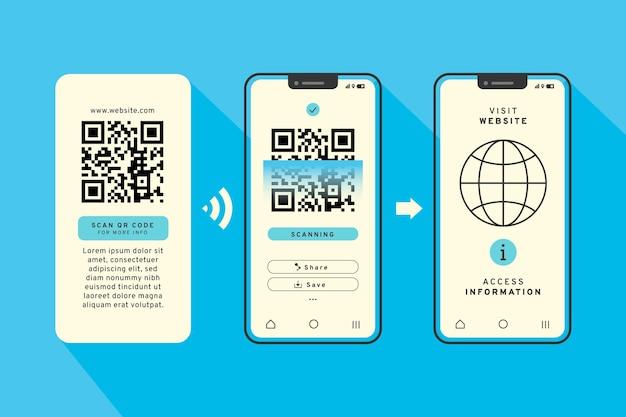 Qr-code-scan-schritte auf dem smartphone-konzept