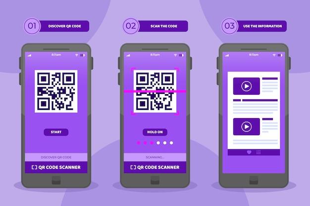 Qr-code-scan-schritte auf dem smartphone-set