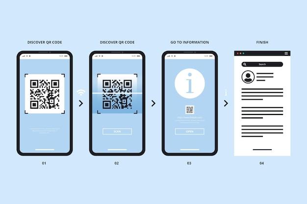 Qr-code-scan-schritte im smartphone-stil