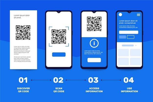 Qr-code-scan-schritte zum smartphone-thema
