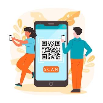 Qr-code-scannen mit zeichen- und scan-schritten auf dem smartphone-pack