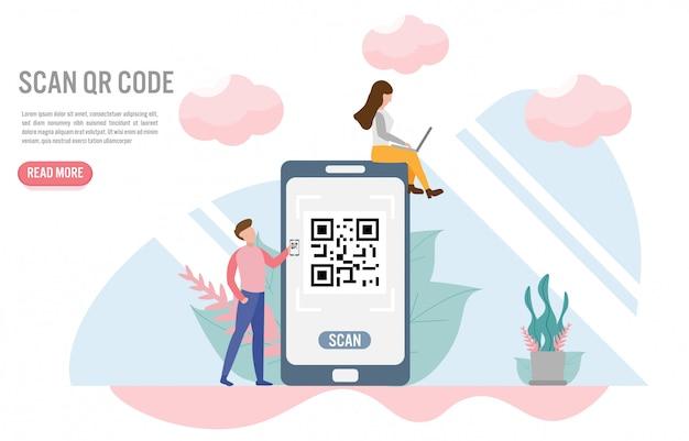 Qr-code scannen. zahlungskonzepte mit charakter