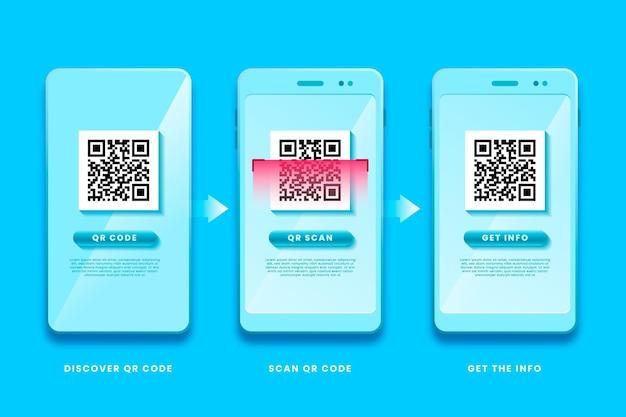 Qr-code-schritte auf dem mobiltelefon scannen