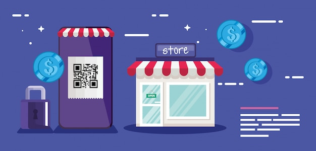 Qr-code smartphone store vorhängeschloss und münzen design der technologie scan informationen geschäftspreis kommunikation barcode digital- und datenthema vektor-illustration