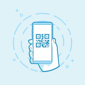 Qr-code-symbol auf dem smartphone-bildschirm