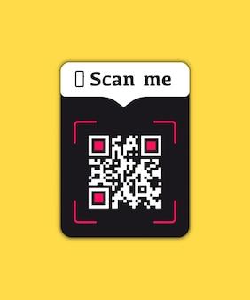 Qr-code-tastenanwendung für mobile smartphones mit scan-me-zeichen-symbol. qr-code scannen, um zu bezahlen. vektor-illustration